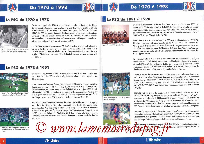1998-99 - Guide de la Saison PSG - Pages 02 et 03