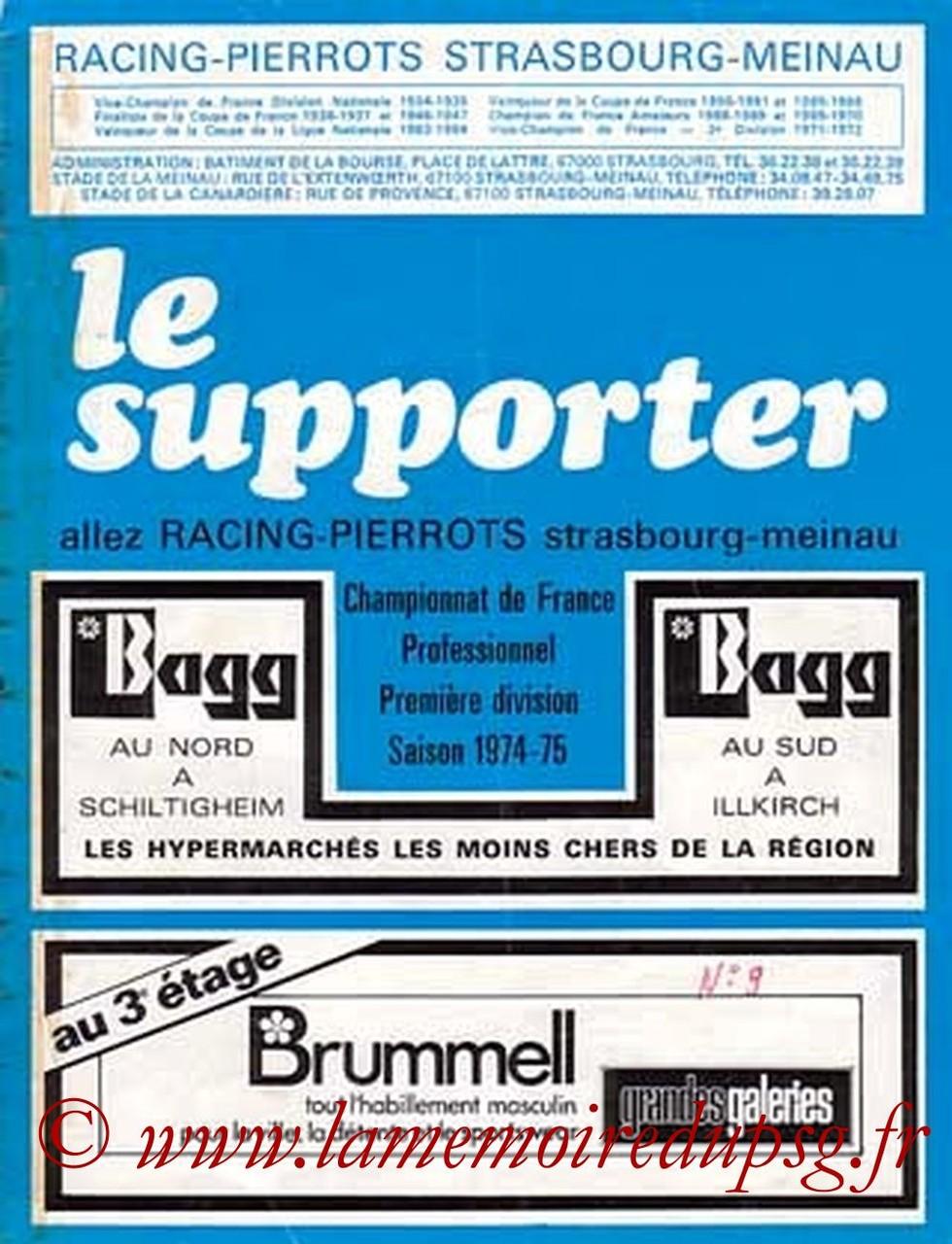 1974-12-01  Strasbourg-PSG (19ème D1, Le Supporter N°9)