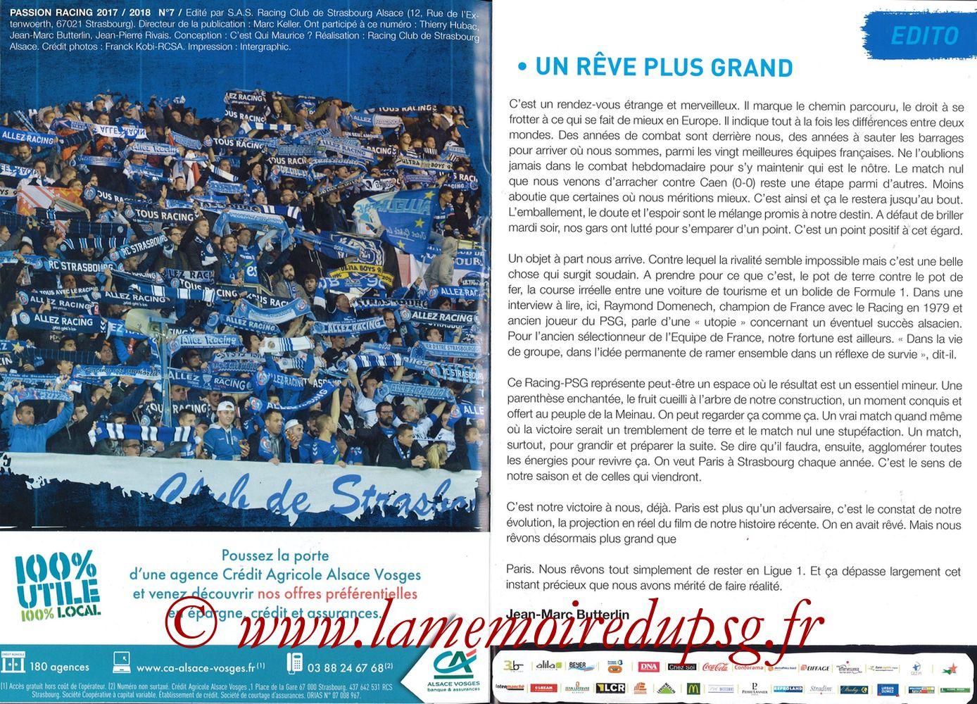 2017-12-02  Strasbourg-PSG (16ème L1, Passion Racing N°7) - Pages 04 et 05
