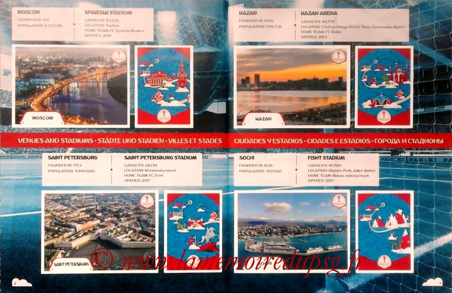2017 - Panini Confederations Cup Russia Stickers - Pages 02 et 03 - Villes et Stades