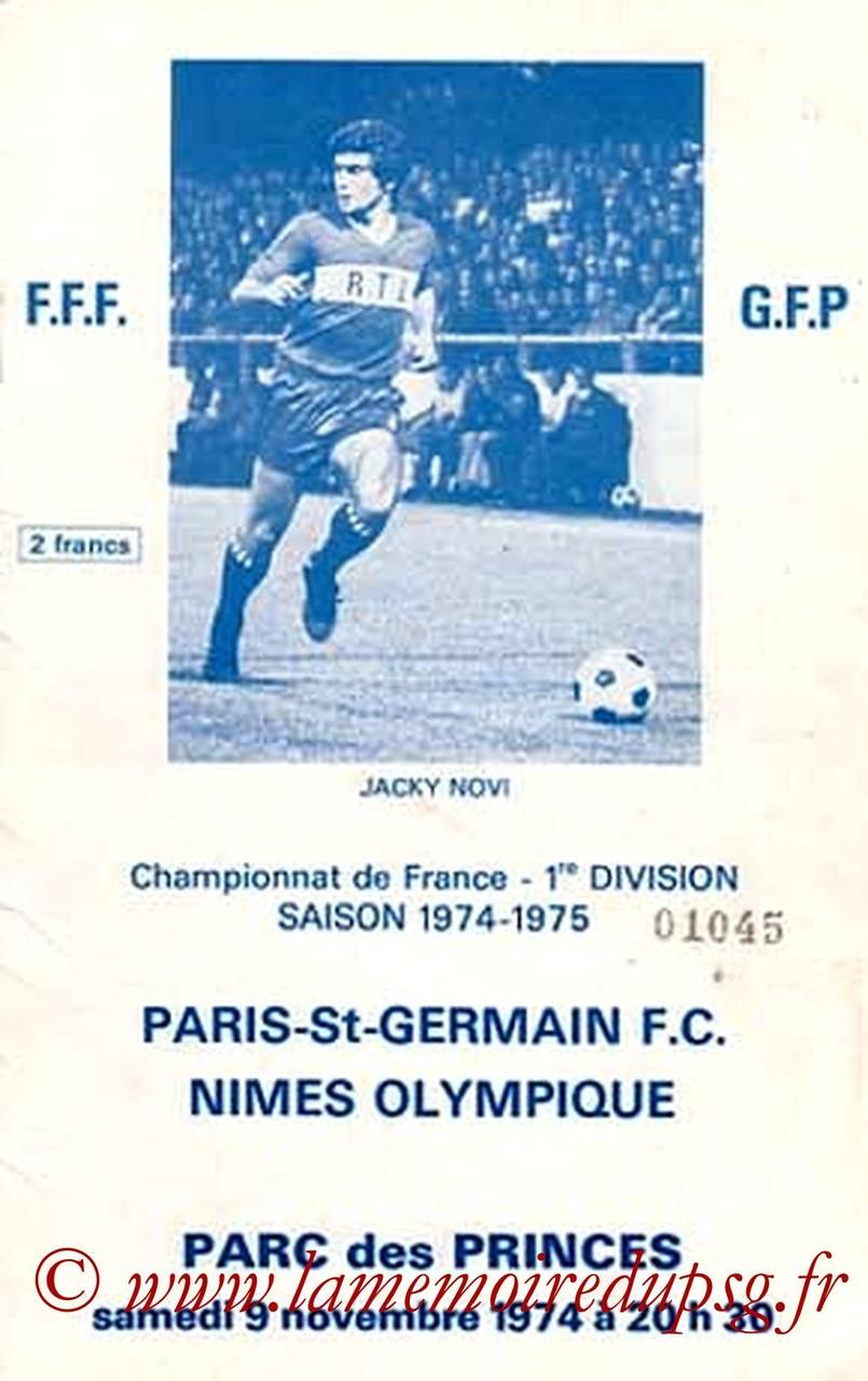 1974-11-09  PSG-Nimes (16ème D1, Officiel PSG)