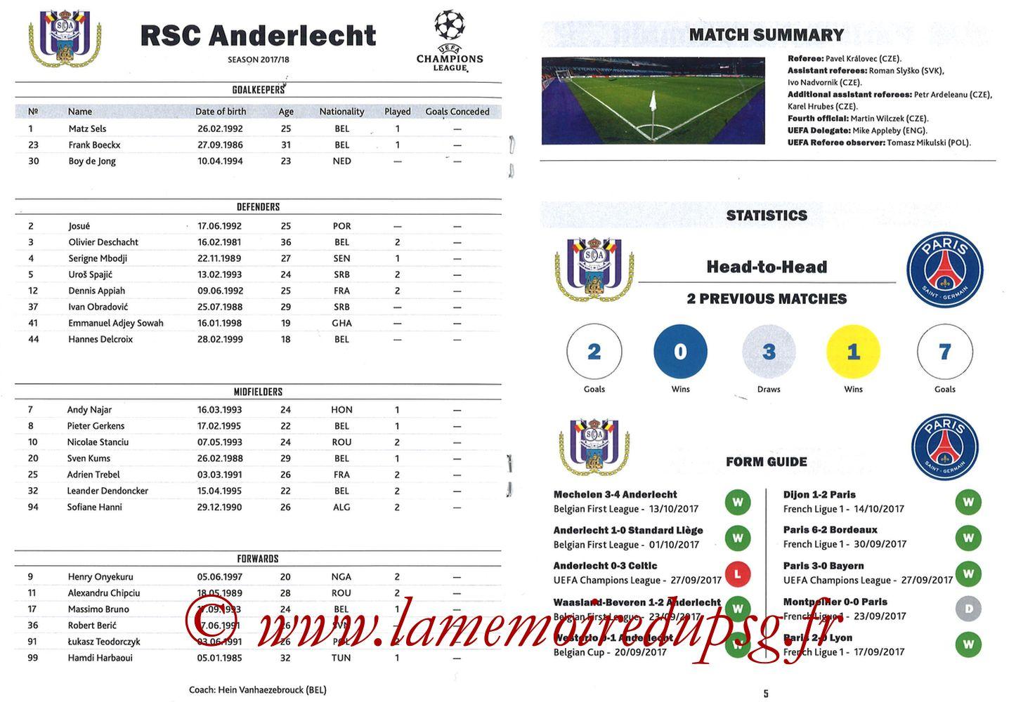 2017-10-18  Anderlecht-PSG (3ème Poule C1, Programme pirate) - Pages 04 et 05