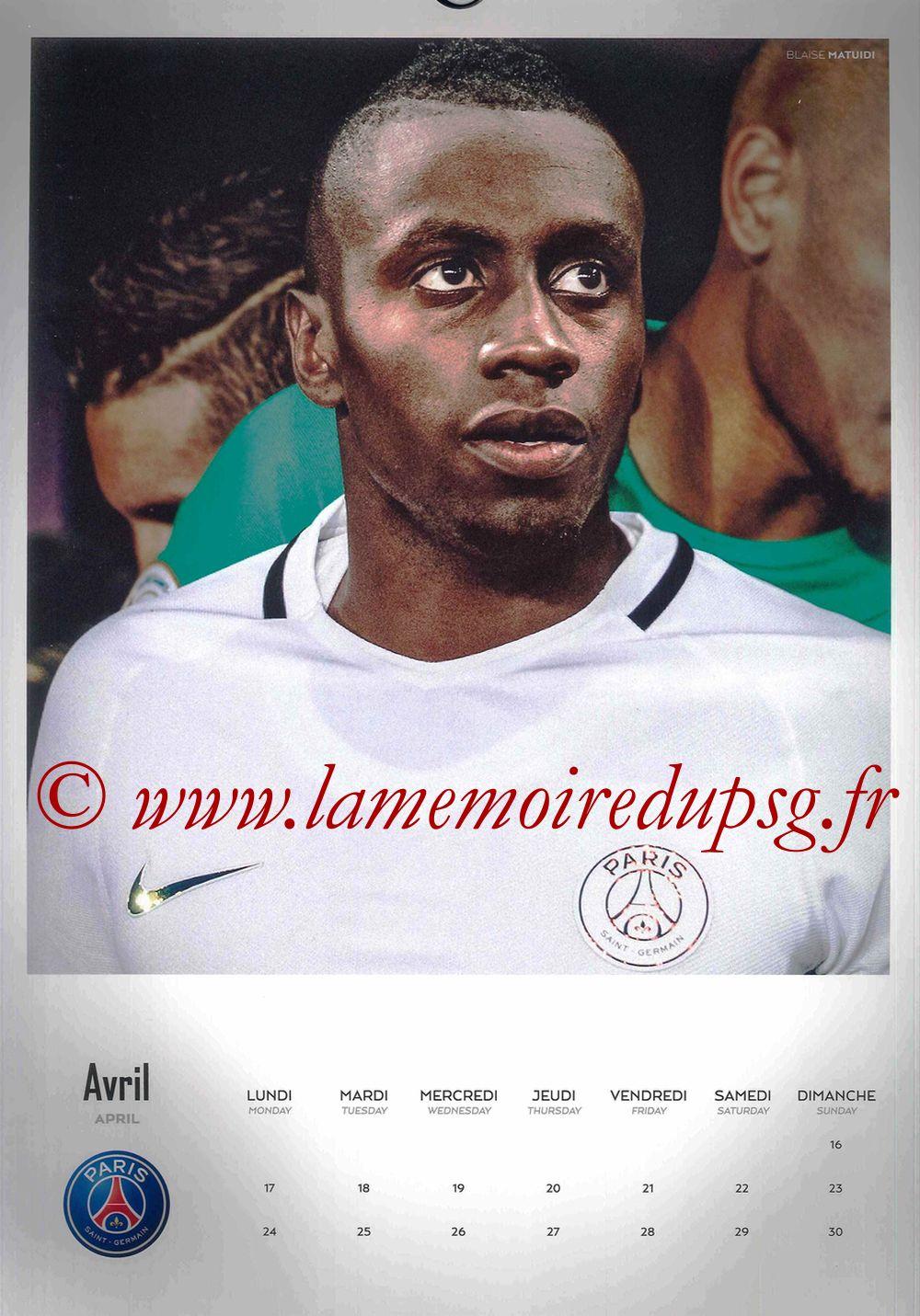 Calendrier PSG 2017 - Page 08 - Blaise MATUIDI
