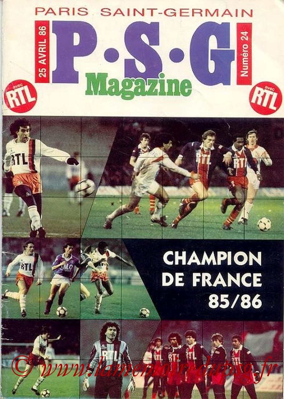 1986-04-25  PSG-Bastia (38ème D1, Paris St Germain Magazine N°24)
