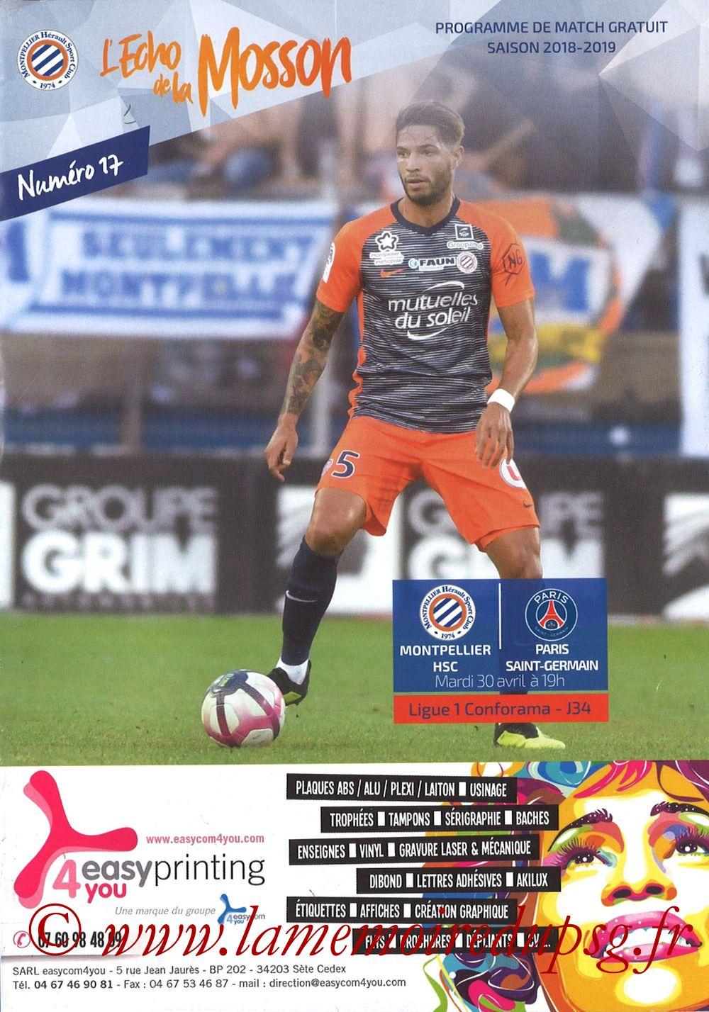 2019-04-30  Montpellier-PSG (34ème L1, L'Echo de la Mosson N°17)