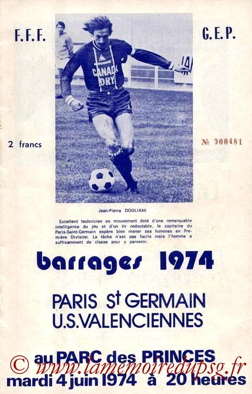 1974-06-04  PSG-Valenciennes (Barrage Retour, Programme officiel)