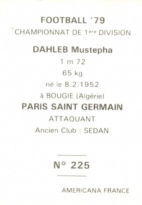 N° 225 - Mustapha DAHLEB (Verso)