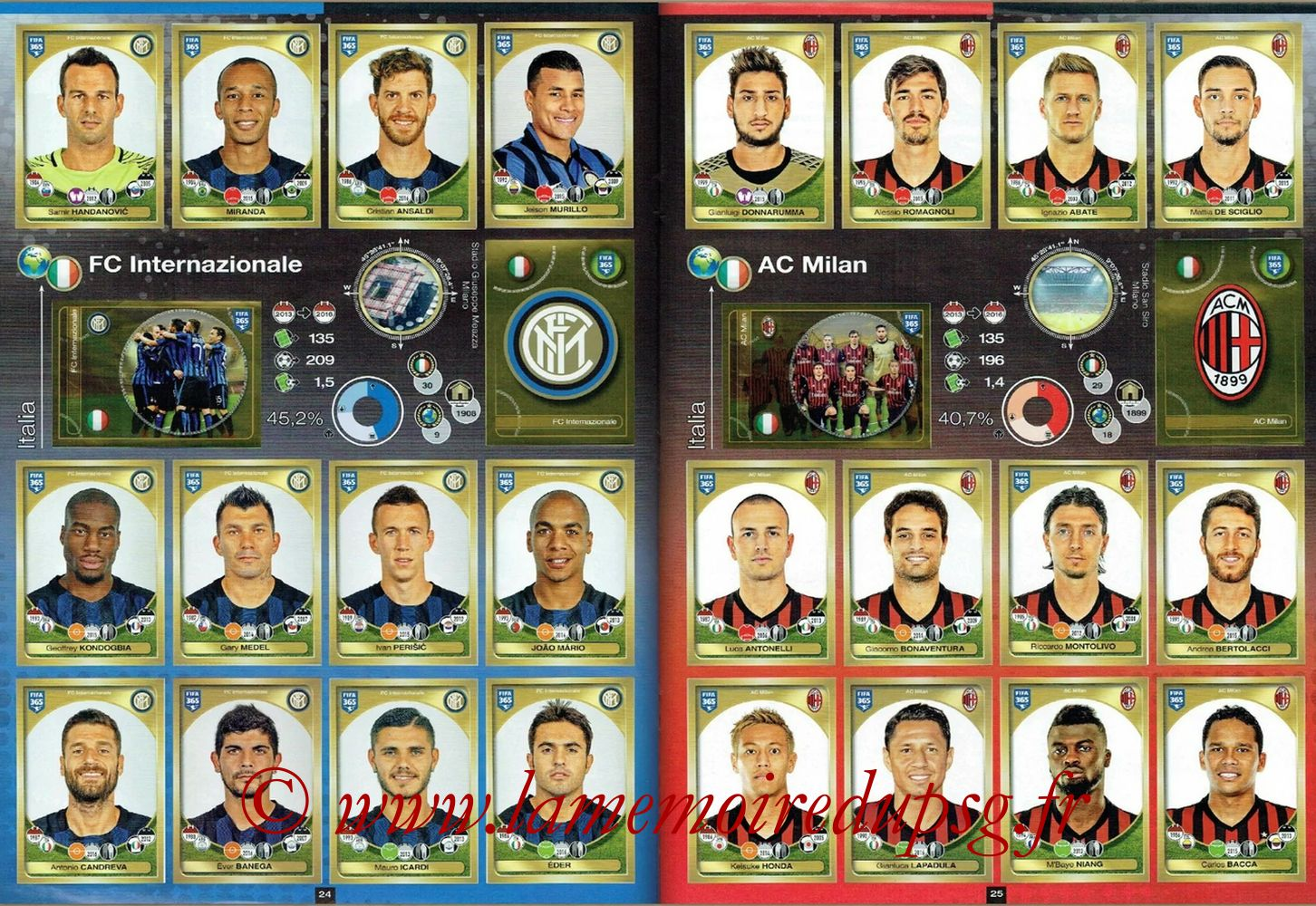 2016-17 - Panini FIFA 365 Stickers - Pages 24 et 25 - FC Internazionale + AC Milan