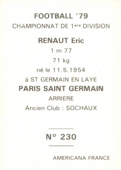 N° 230 - Eric RENAUT (Verso)