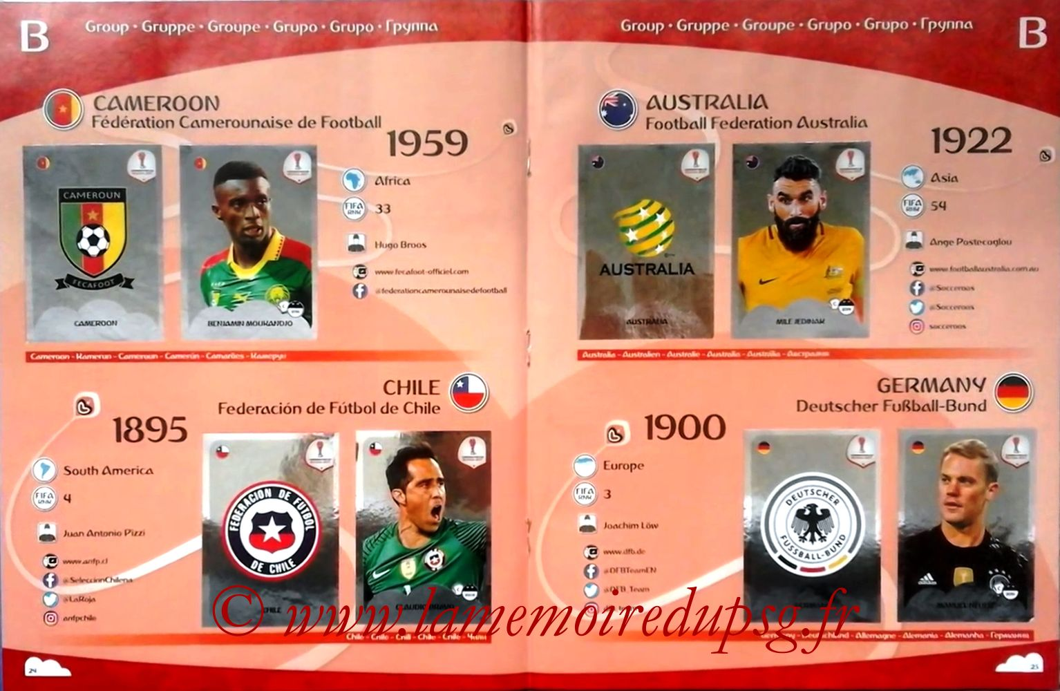 2017 - Panini Confederations Cup Russia Stickers - Pages 24 et 25 - Groupe B