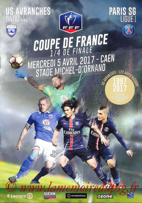 2017-04-05  Avranches-PSG (Quart CF à Caen, Programme officiel)