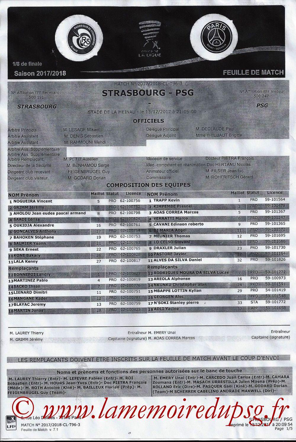 2017-12-02  Strasbourg-PSG (16ème L1, Feuille de match)