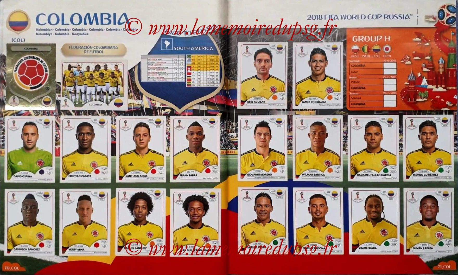 2018 - Panini FIFA World Cup Russia Stickers - Pages 70 et 71 - Colombie