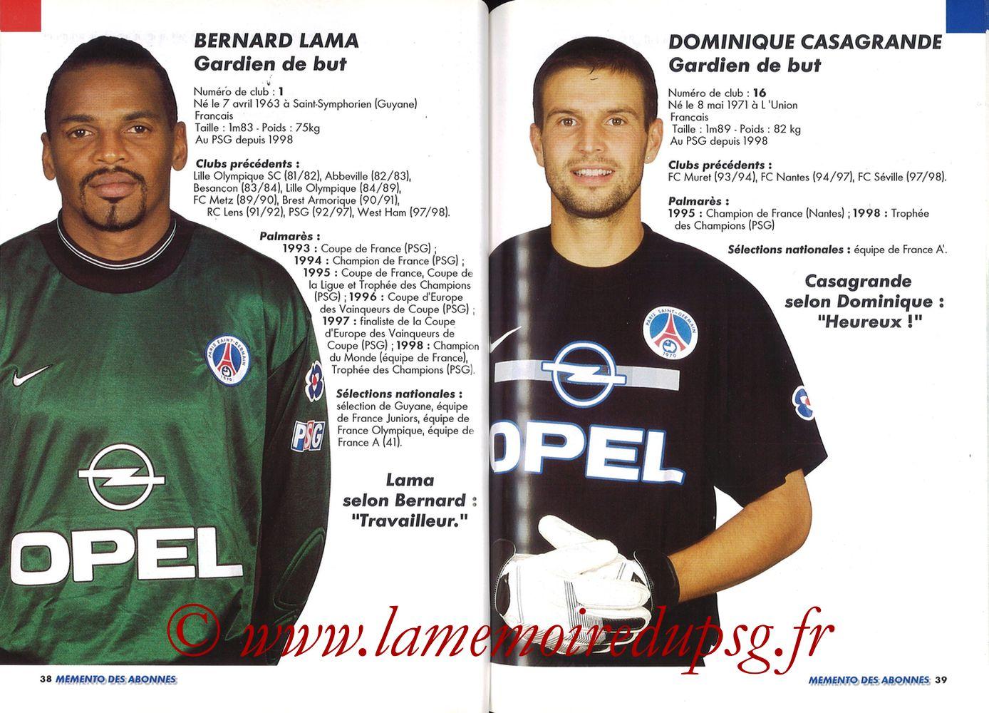 1999-00 - Guide de la Saison PSG - Pages 38 et 39