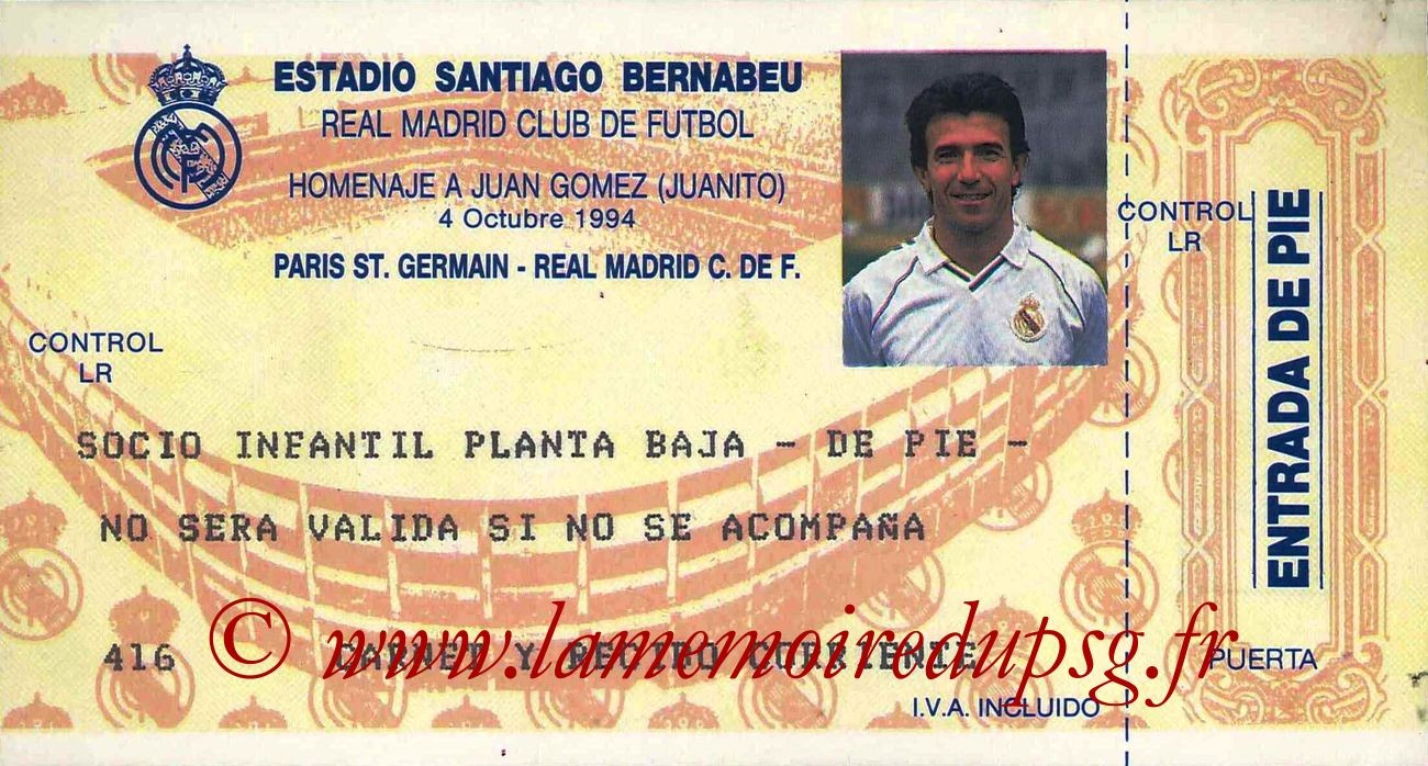 1994-10-04  Real Madrid-PSG (Jubilé Juanito à Madrid)