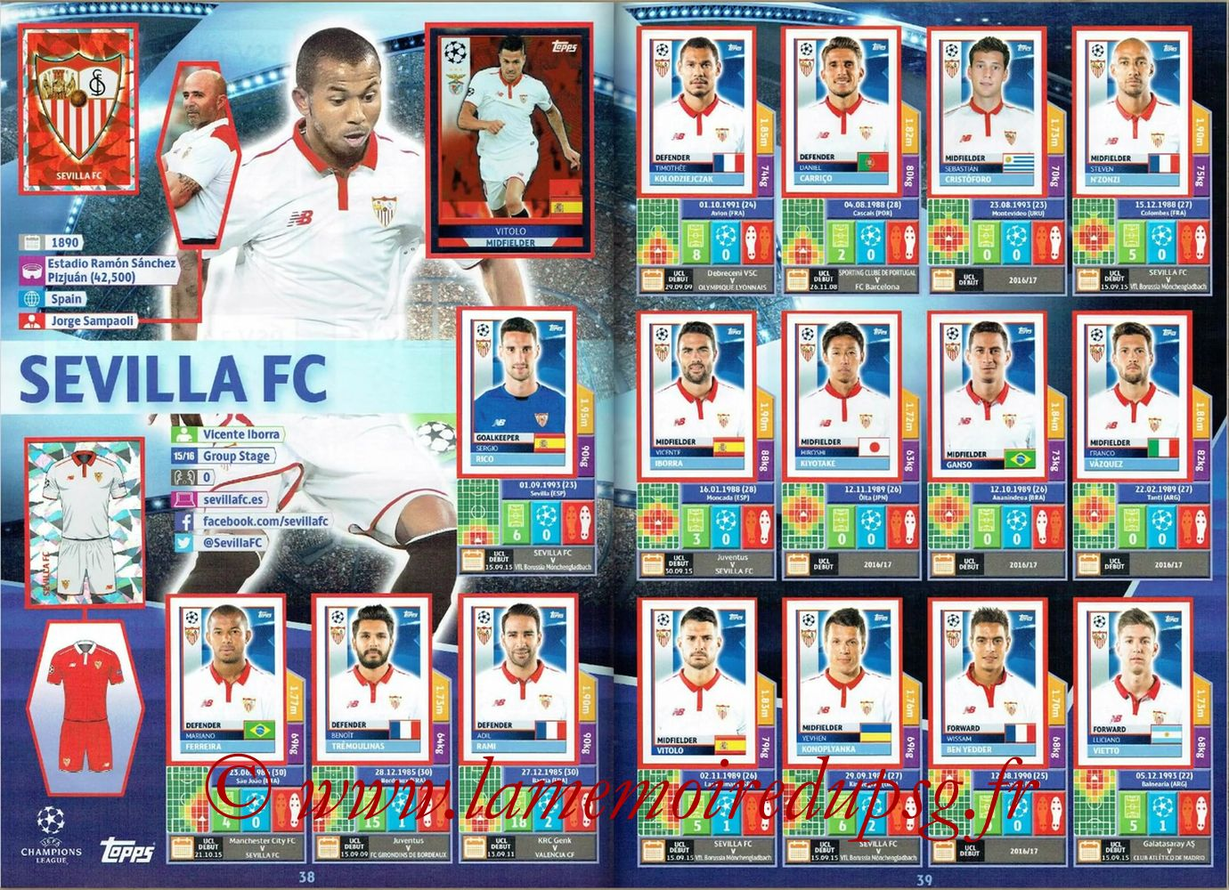 2016-17 - Topps UEFA Champions League Stickers - Pages 38 et 39 - FC Seville