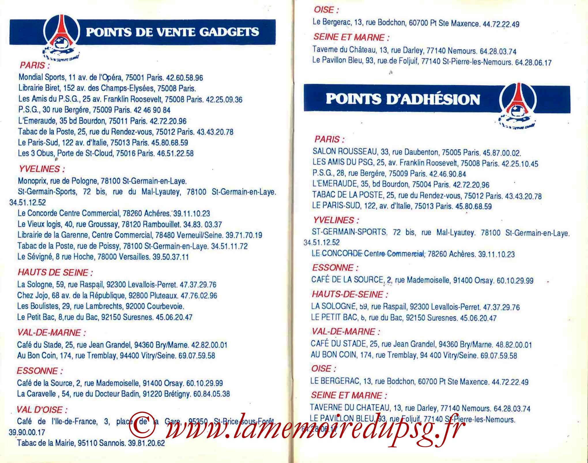 1987-88 - Guide de la Saison PSG - Pages 22 et 23