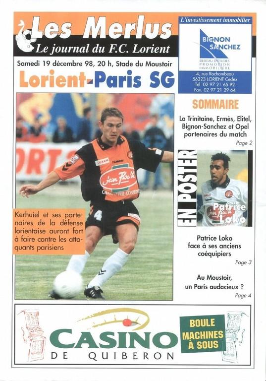 1998-12-19  Lorient-PSG (20ème D1, Les Merlus)