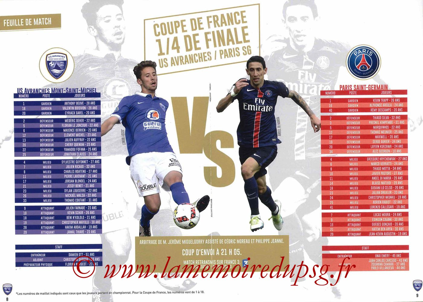 2017-04-05  Avranches-PSG (Quart CF à Caen, Programme officiel) - Pages 08 et 09