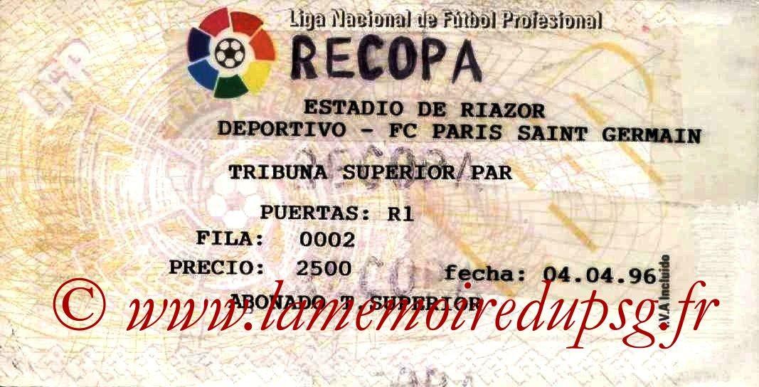 1996-04-04  La Corogne-PSG (Demi Finale Aller C2)