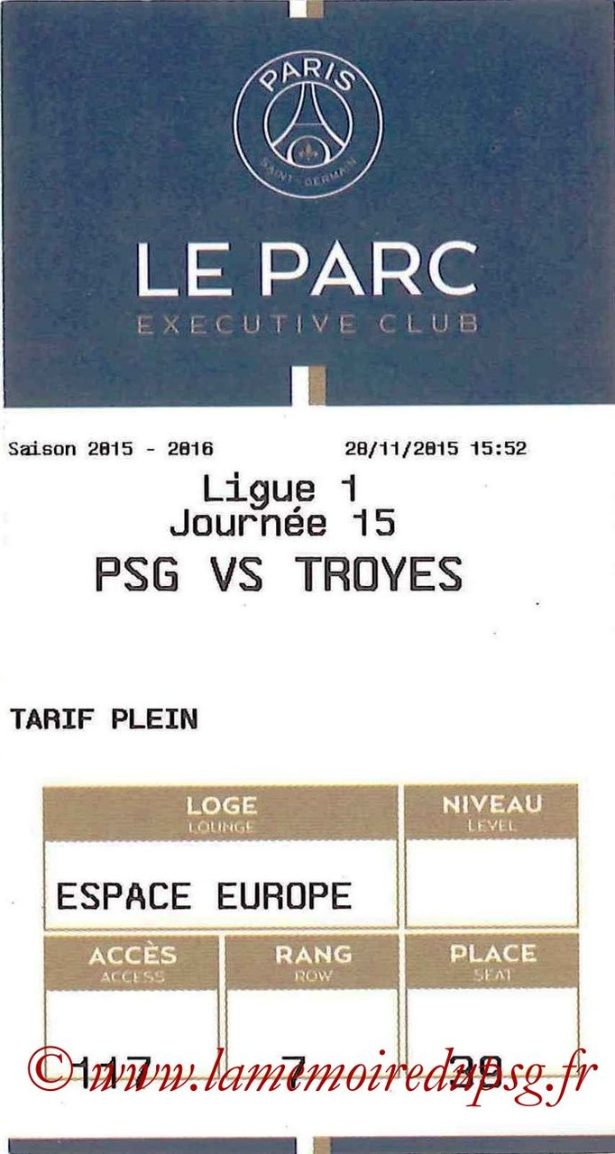 2015-11-28  PSG-Troyes (15ème L1, E-ticket Executive Club)
