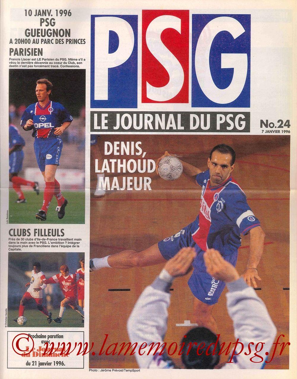 1996-01-10  PSG-Gueugnon (31ème D1, Le journal du PSG N°24)