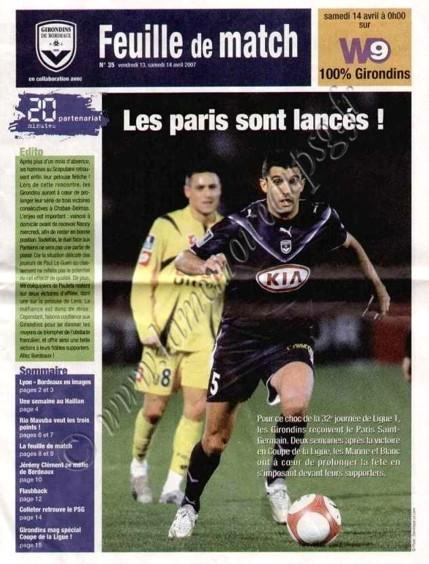 2007-04-14  Bordeaux-PSG (32ème, L1, Feuille de match N°35)
