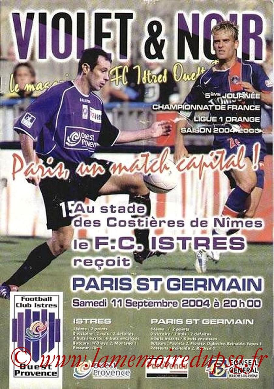 2004-09-11  Istres-PSG  (5ème L1, Violet & Noir)