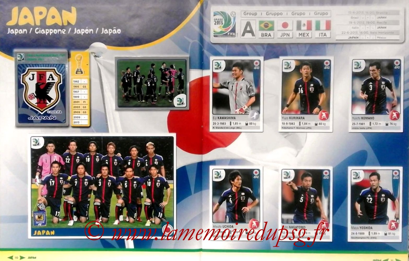 2013 - Panini Confederations Cup Brasil Stickers - Pages 10 et 11 - Japon