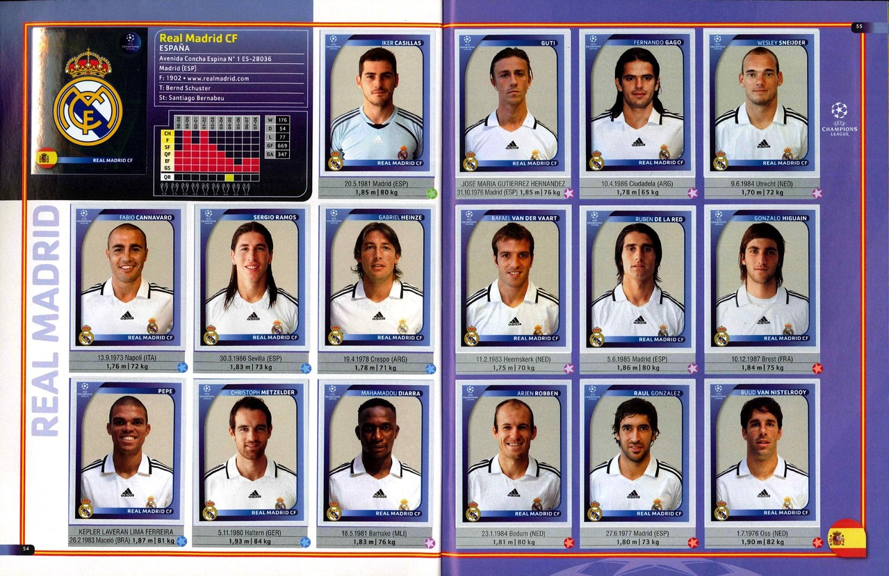 2008-09 - Panini Champions League - Pages 54 et 55 - Real Madrid CF
