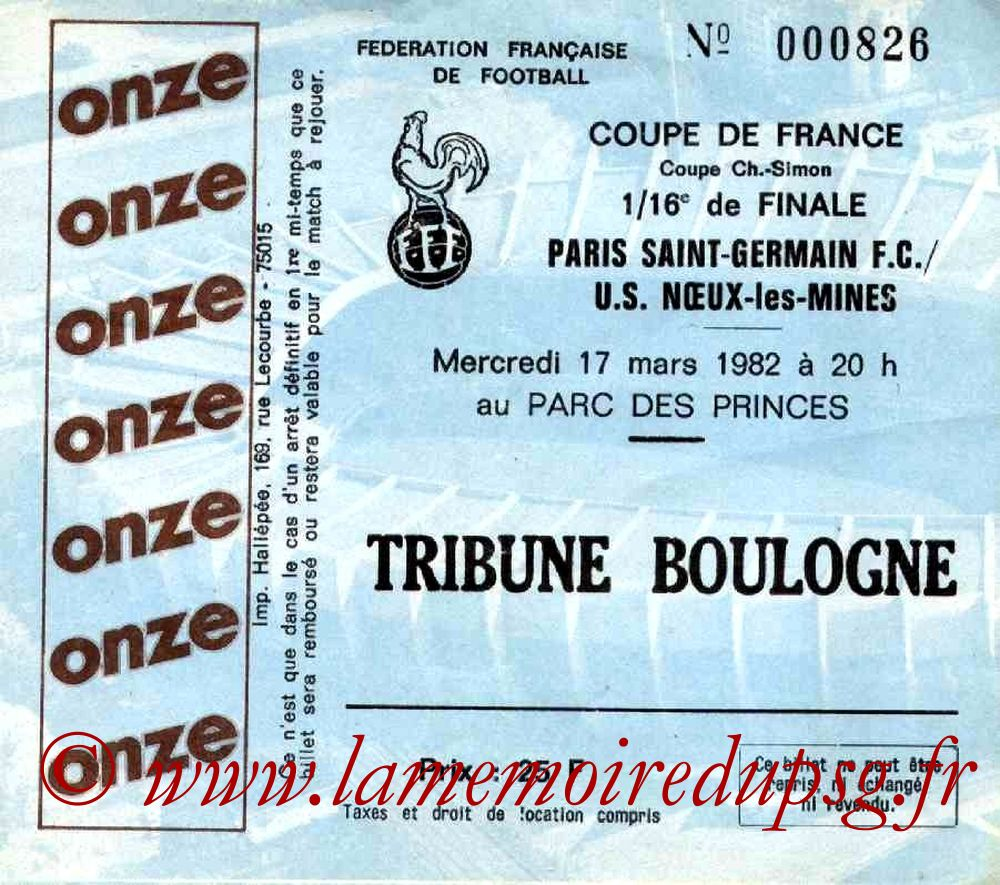 Ticket  PSG-Noeux les Mines  1981-82