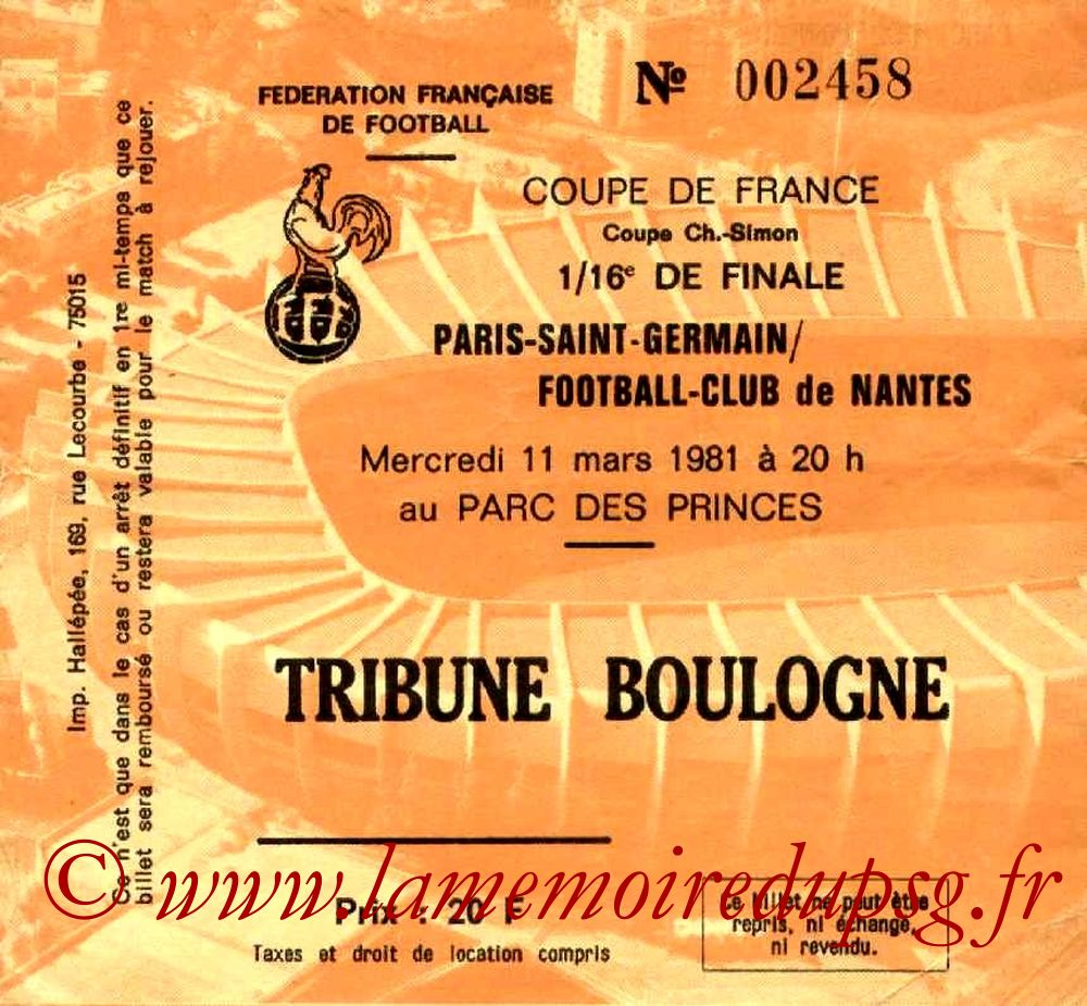 Ticket  PSG-Nantes  1980-81