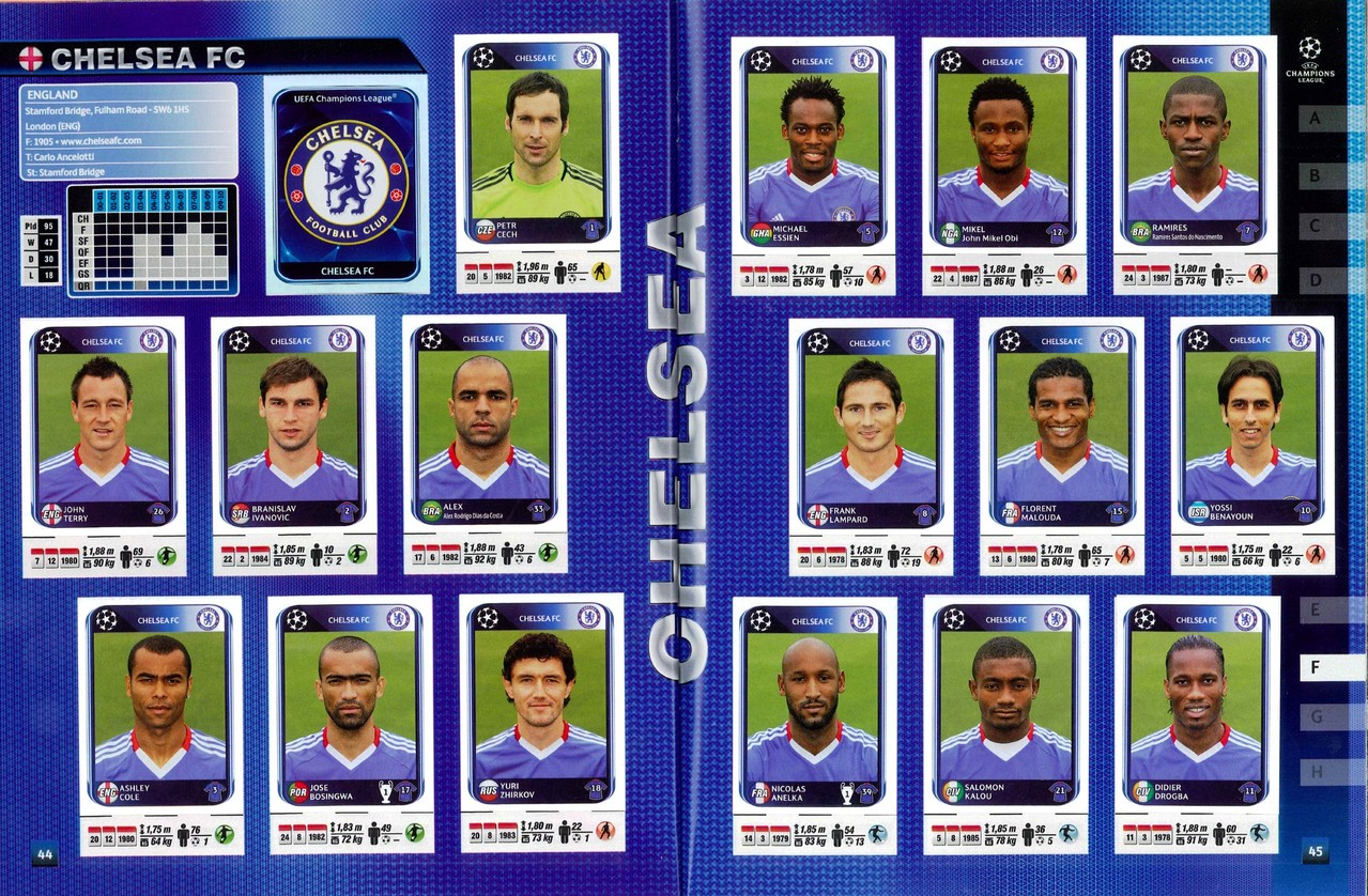 2010-11 - Panini Champions League - Pages 44 et 45 - Chelsea FC