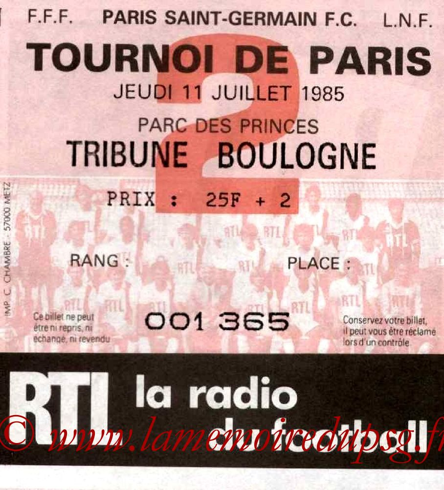 1985-07-11  PSG-Warengem (Finale Tournoi de Paris)