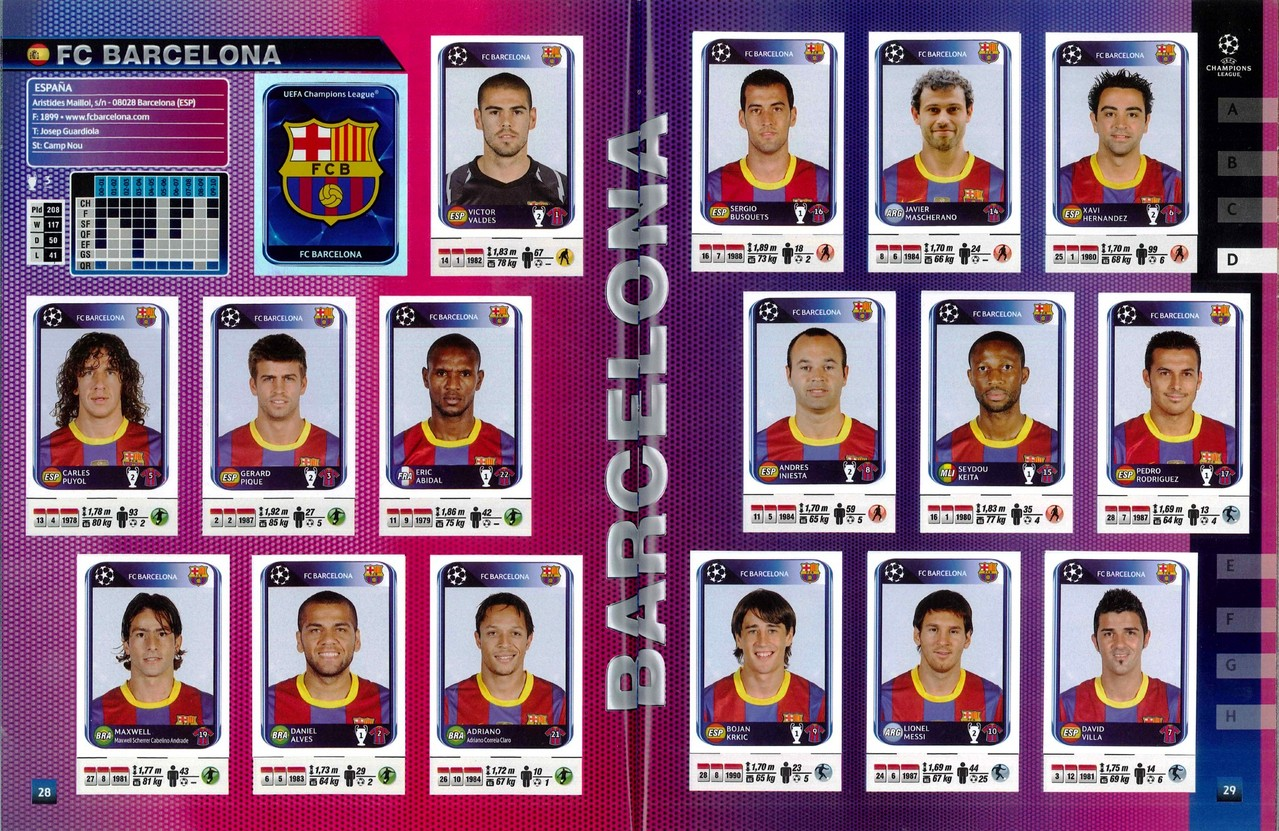 2010-11 - Panini Champions League - Pages 28 et 29 - FC Barcelone