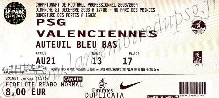 2008-12-21  PSG-Valenciennes  (19ème L1)