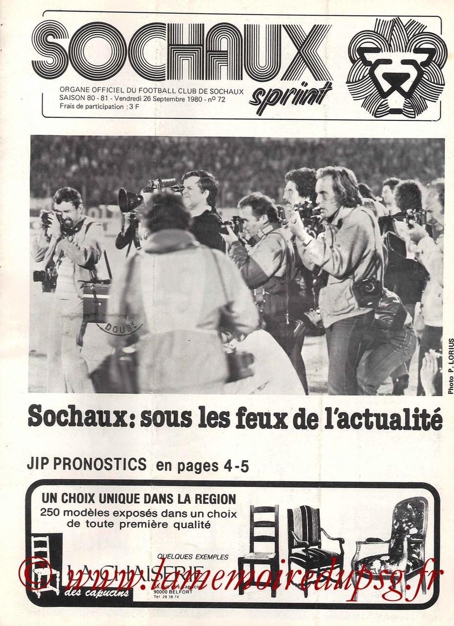 1980-09-26  Sochaux-PSG (12ème D1, Sochaux Sprint N°72)