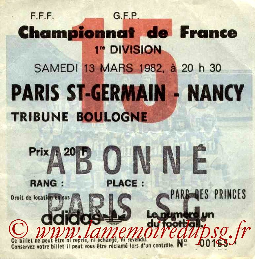1982-03-13  PSG-Nancy (30ème D1, Ticket N°15)