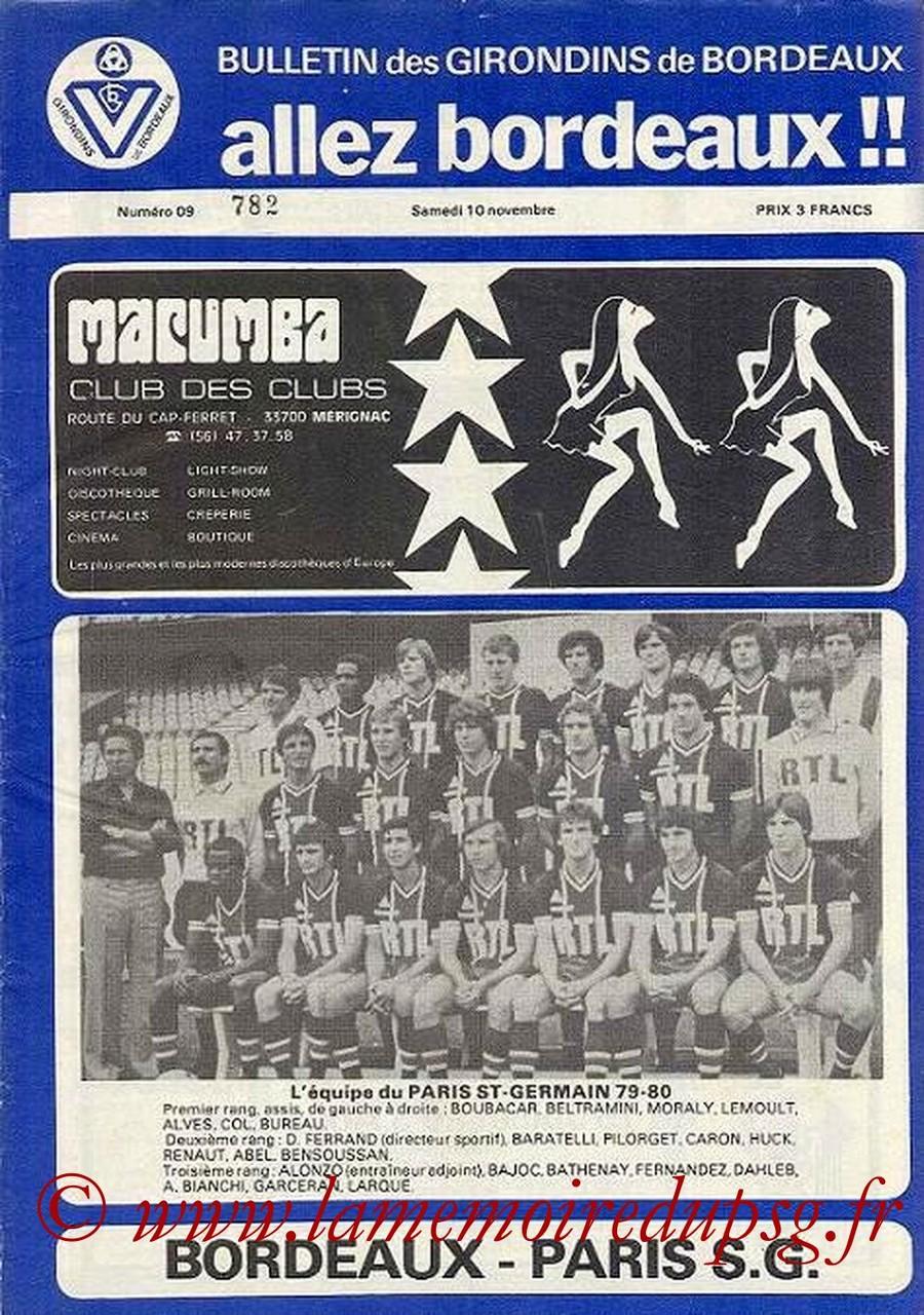 1979-11-10  Bordeaux-PSG (16ème D1, Allez Bordeaux N°9)