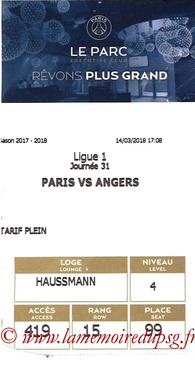 2018-03-14  PSG-Angers (31ème L1 en avance , E-ticket Executive club)