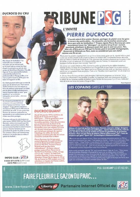 2001-02-07  PSG-Guingamp (26ème D1, Tribune PSG N°26)