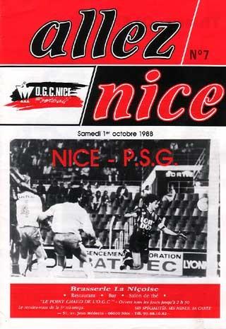 1988-10-01  Nice-PSG (14ème D1, Allez Nice N°7)