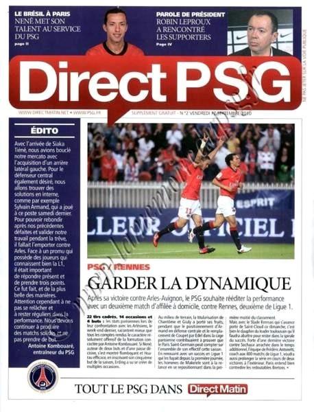 2010-09-18  PSG-Rennes (6ème L1, Direct PSG N°2)