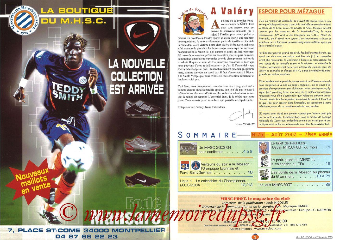 2003-08-30  Montpellier-PSG (5ème L1, MHSC Foot N°73) - Pages 02 et 03