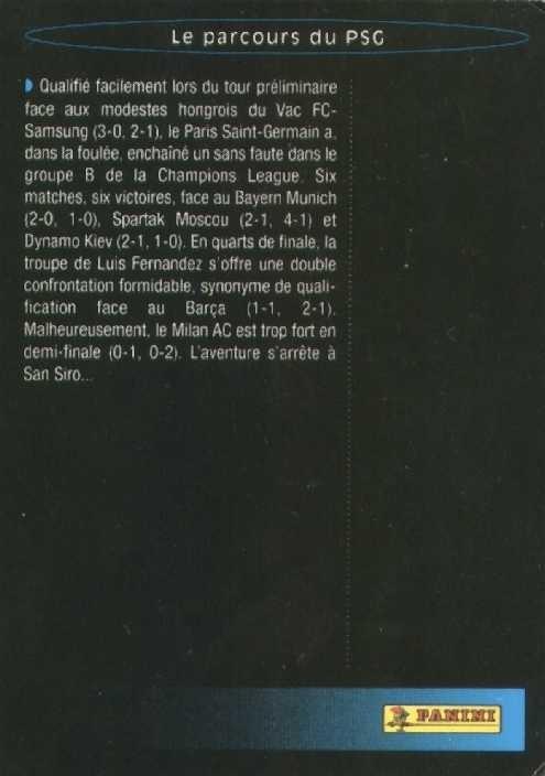 N° S14 - Bilan Saison 94-95 (Verso)