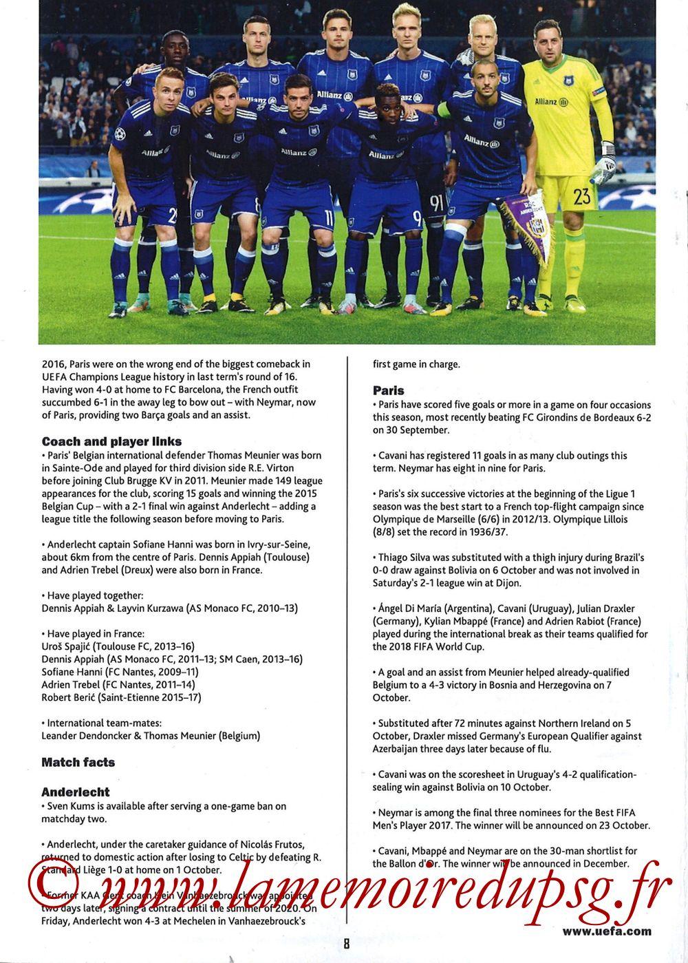 2017-10-18  Anderlecht-PSG (3ème Poule C1, Programme pirate) - Page 08