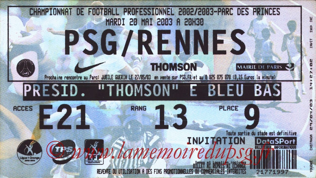 2003-05-20  PSG-Rennes (37ème L1)