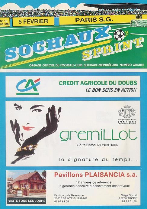 1989-02-05  Sochaux-PSG (25ème D1, Sochaux Sprint N° 13)