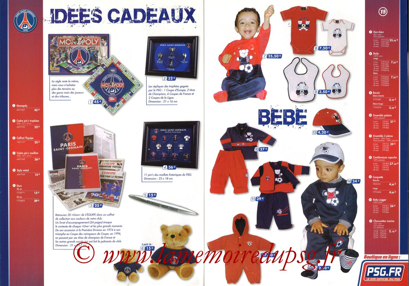 Catalogue PSG - 2005-06 - Pages 14 et 15