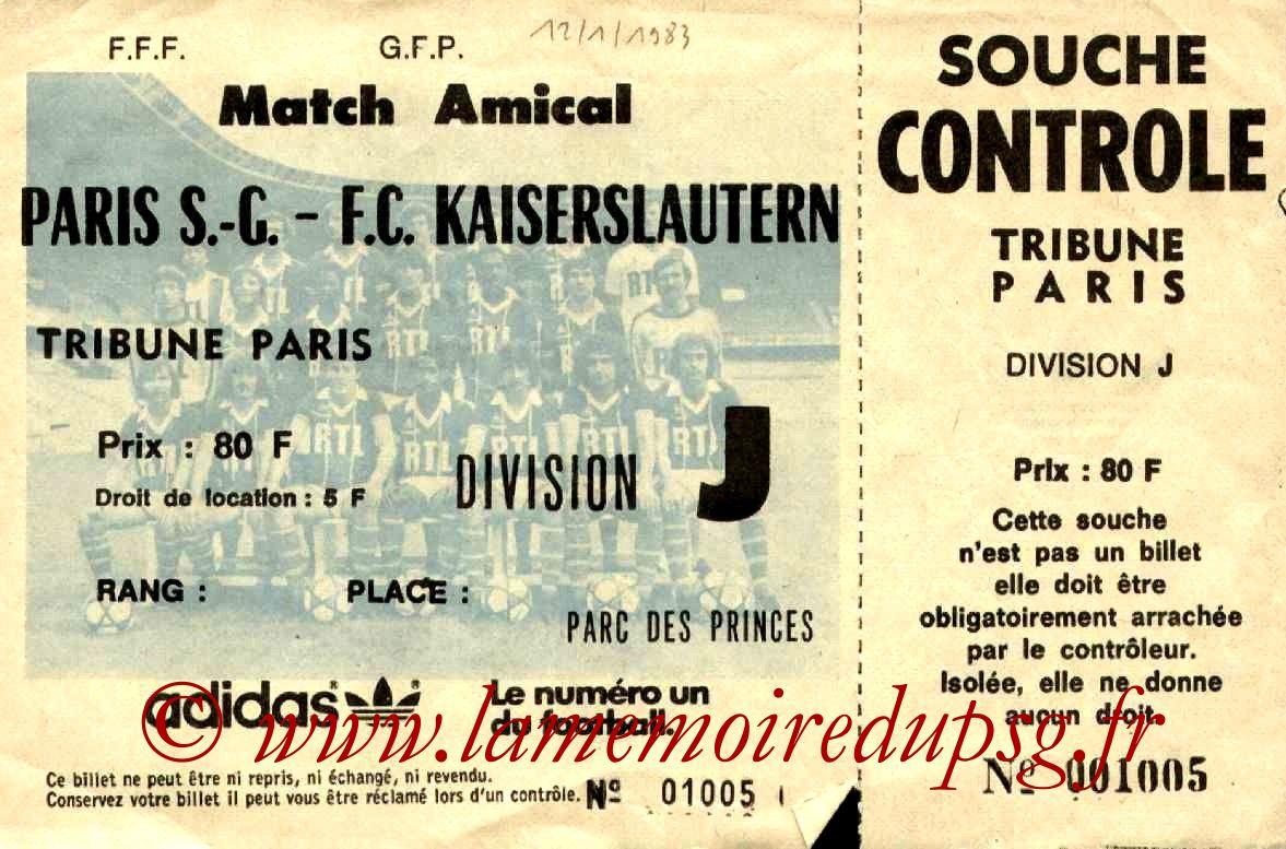 1983-01-12  PSG-Kaiserslautern (Amical au Parc des Princes, Entier)